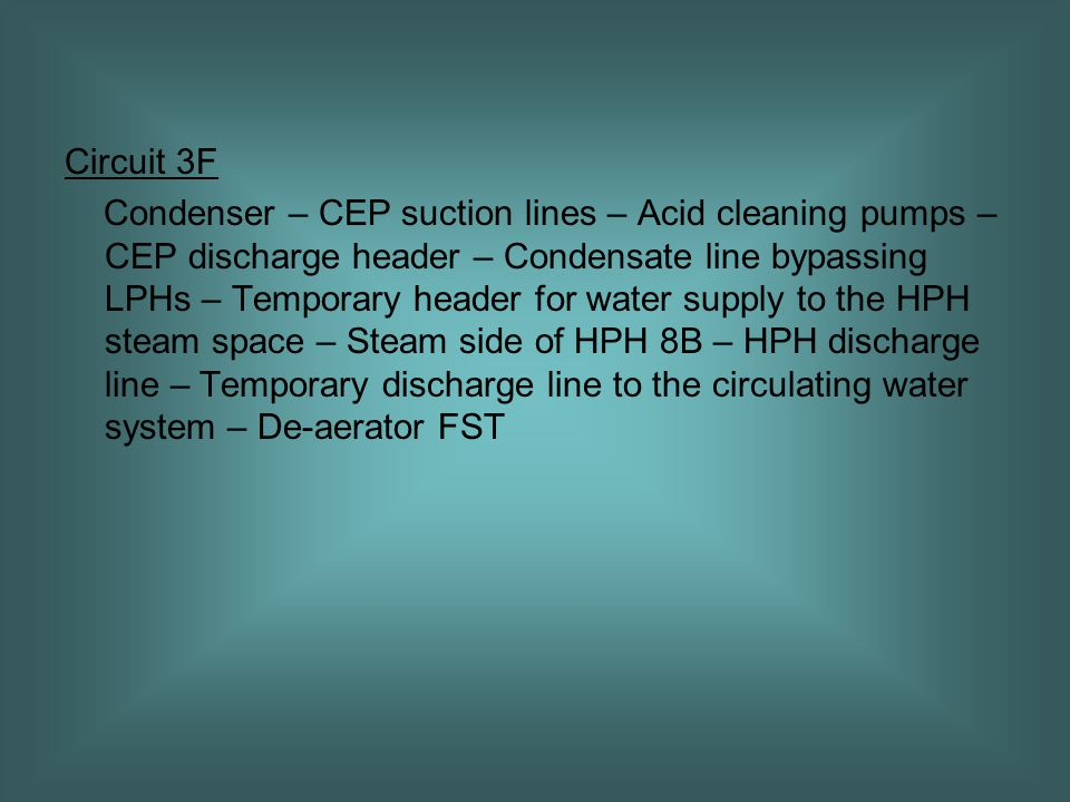 Circuit 3F Condenser – CEP suction lines – Acid cleaning pumps – CEP discharge header – Condensate line bypassing LPHs – Temporary header for water supply to the HPH steam space – Steam side of HPH 8B – HPH discharge line – Temporary discharge line to the circulating water system – De-aerator FST