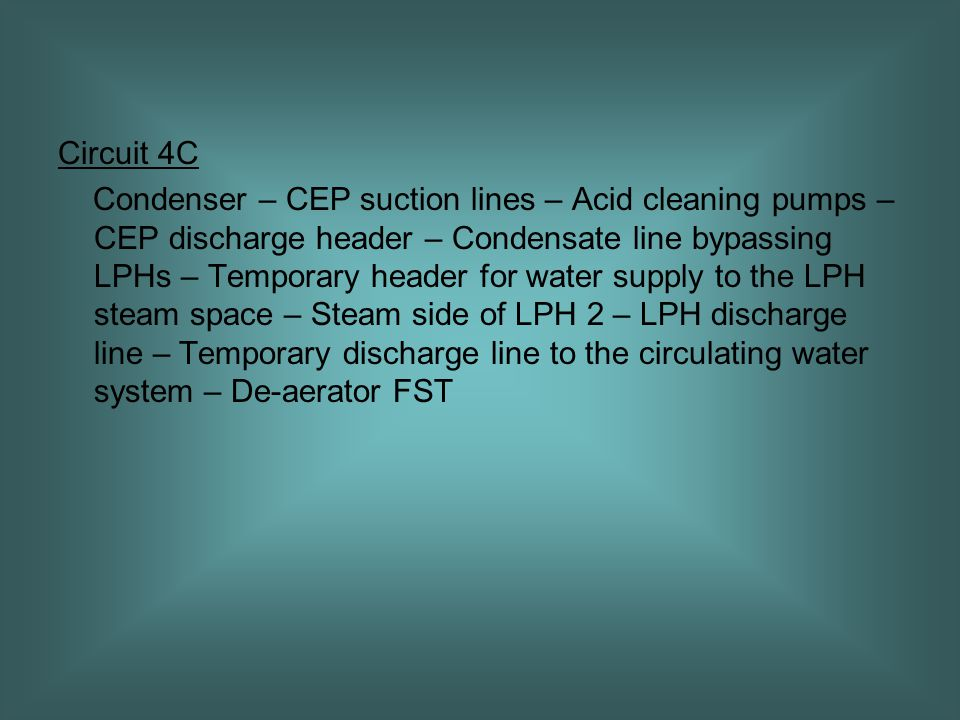 Circuit 4C Condenser – CEP suction lines – Acid cleaning pumps – CEP discharge header – Condensate line bypassing LPHs – Temporary header for water supply to the LPH steam space – Steam side of LPH 2 – LPH discharge line – Temporary discharge line to the circulating water system – De-aerator FST