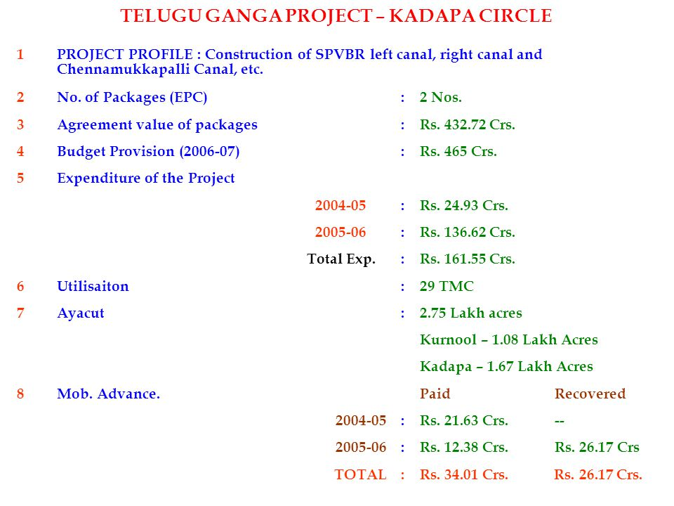 1 PROJECT PROFILE : Construction of SPVBR left canal, right canal and Chennamukkapalli Canal, etc. 2No. of Packages (EPC) :2 Nos. 3Agreement value of
