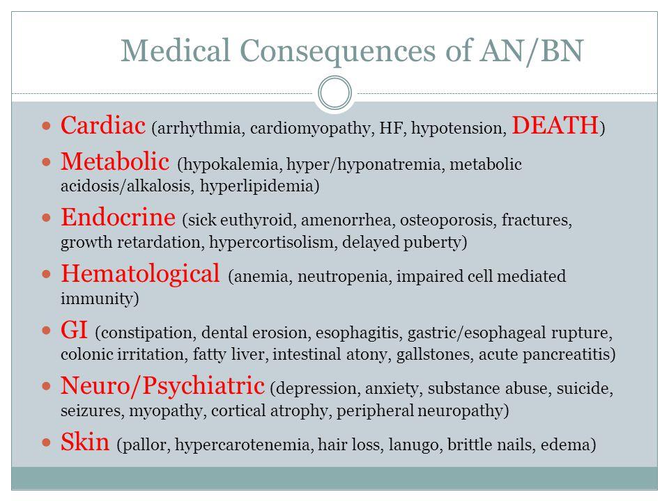 Medical Consequences of AN/BN Cardiac (arrhythmia, cardiomyopathy, HF, hypotension, DEATH ) Metabolic (hypokalemia, hyper/hyponatremia, metabolic acid
