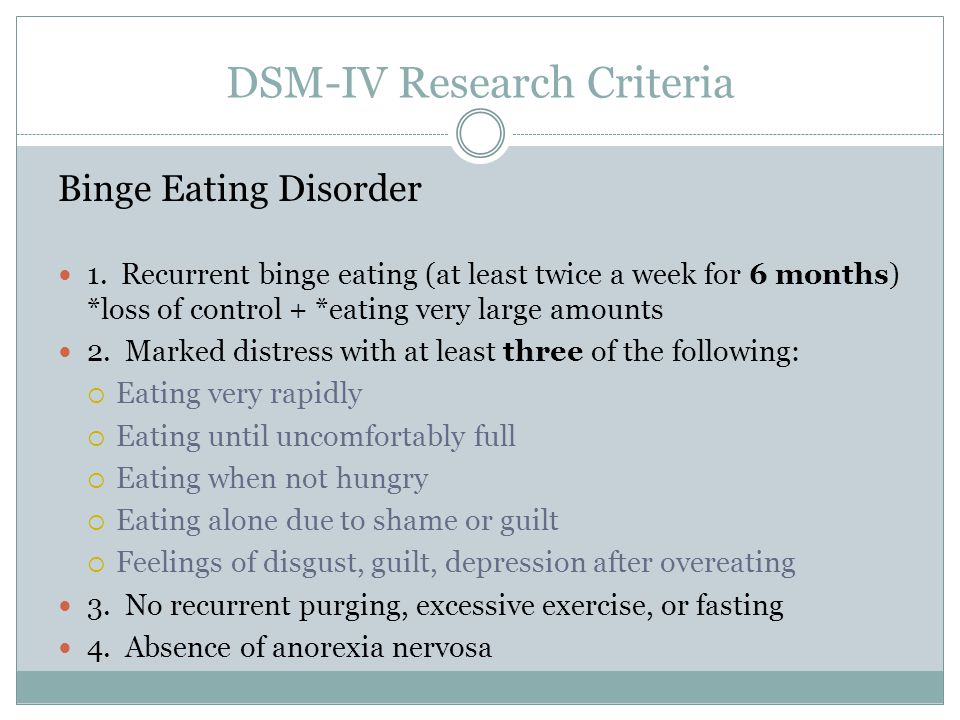 DSM-IV Research Criteria Binge Eating Disorder 1. Recurrent binge eating (at least twice a week for 6 months) *loss of control + *eating very large am