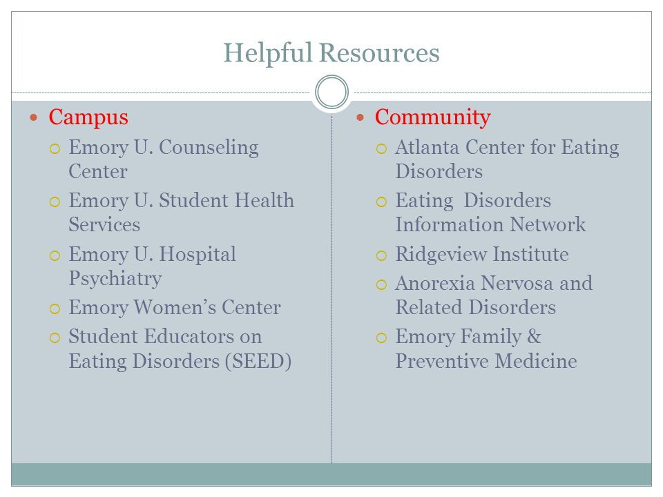 Helpful Resources Campus  Emory U. Counseling Center  Emory U. Student Health Services  Emory U. Hospital Psychiatry  Emory Women's Center  Stude