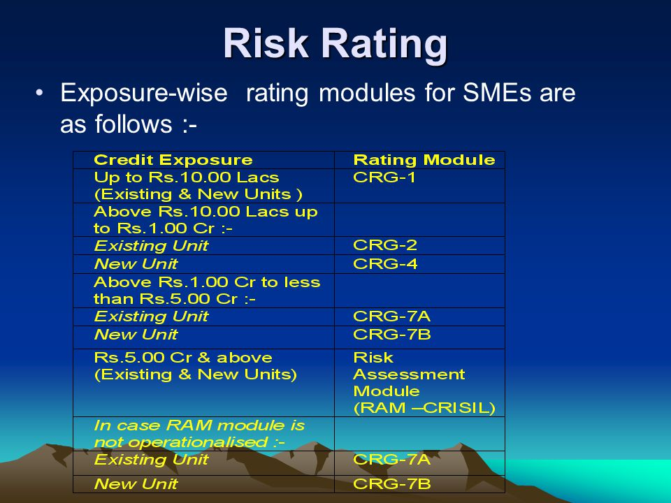 Risk Rating Exposure-wise rating modules for SMEs are as follows :-