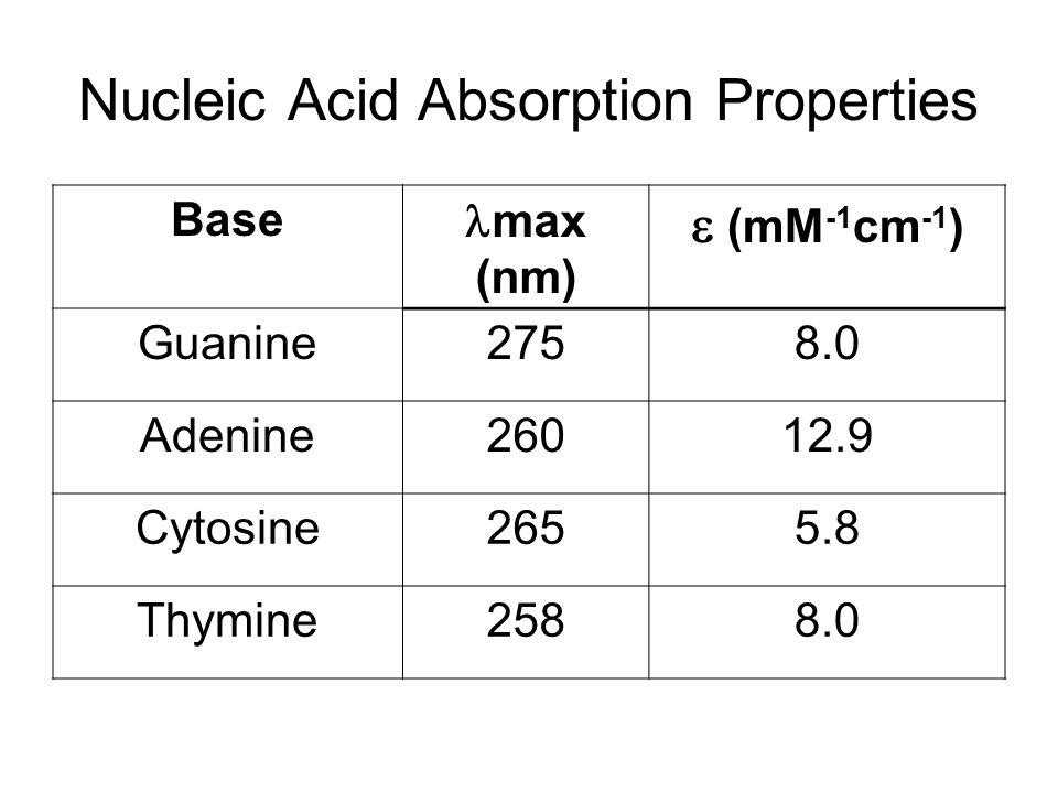 Nucleic Acid Absorption Properties Base max (nm)  (mM -1 cm -1 ) Guanine2758.0 Adenine26012.9 Cytosine2655.8 Thymine2588.0