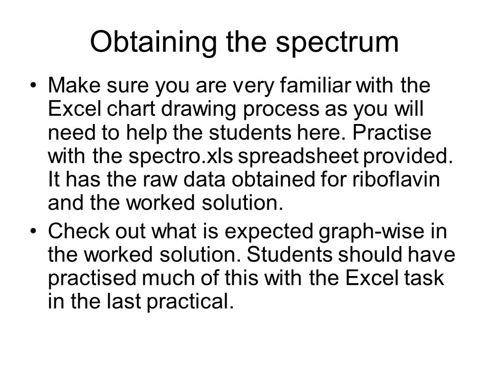 Obtaining the spectrum Make sure you are very familiar with the Excel chart drawing process as you will need to help the students here. Practise with