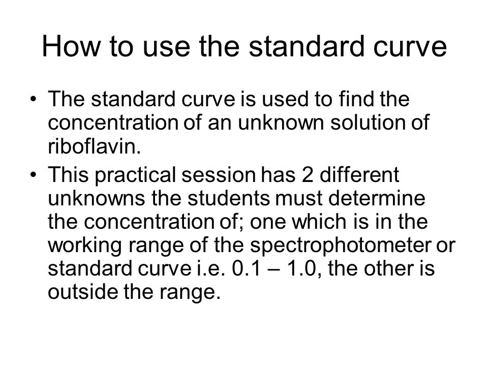 How to use the standard curve The standard curve is used to find the concentration of an unknown solution of riboflavin. This practical session has 2