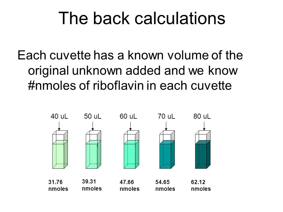 The back calculations Each cuvette has a known volume of the original unknown added and we know #nmoles of riboflavin in each cuvette 40 uL50 uL60 uL7