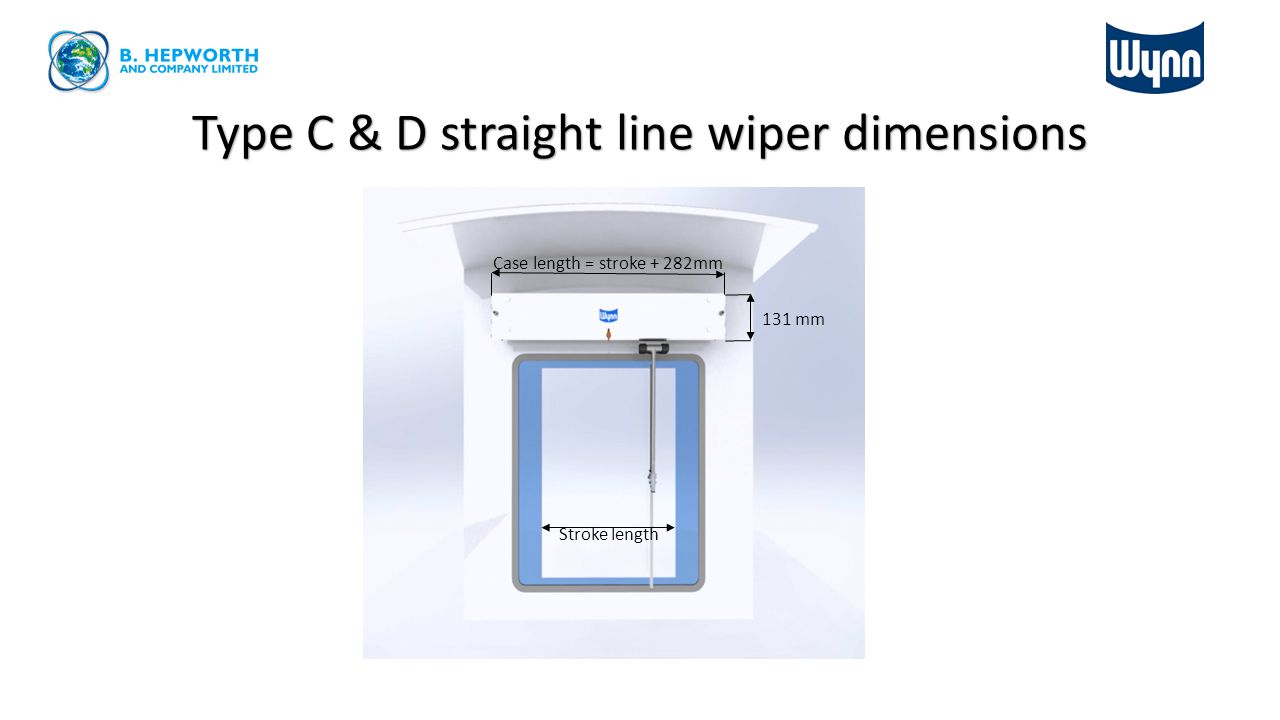 Type C & D straight line wiper dimensions Stroke length Case length = stroke + 282mm 131 mm