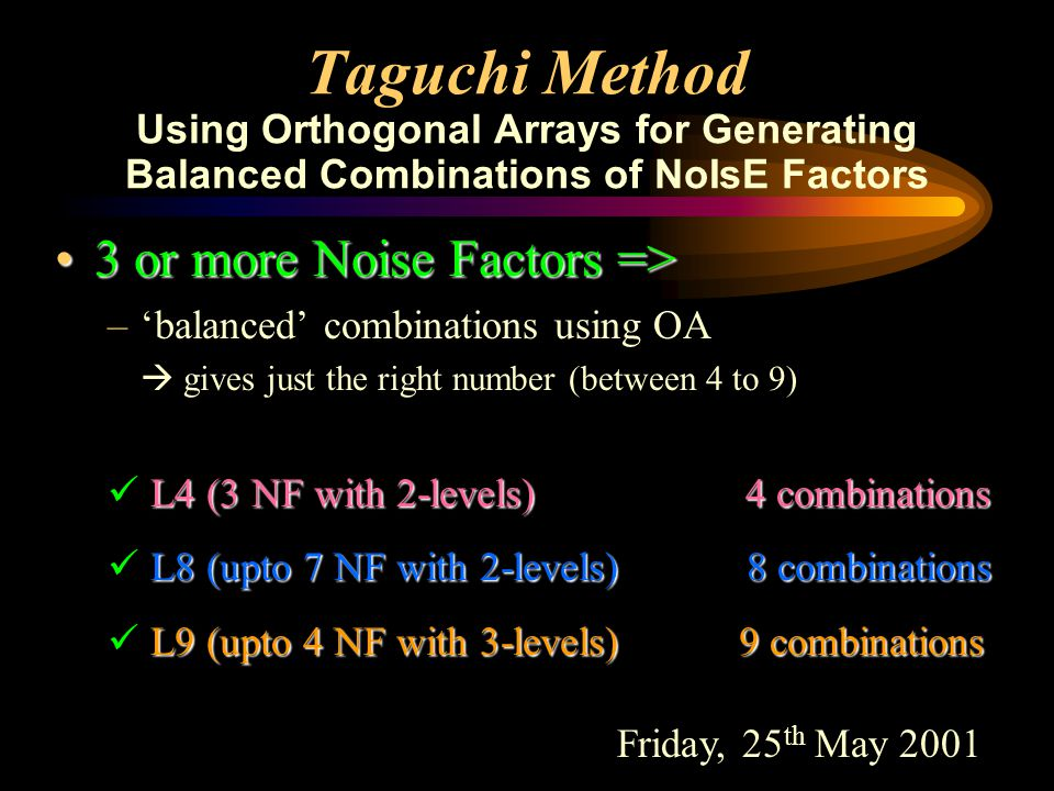 L9 expt. With Noise Array (7) Taguchi Method for Q&R : L9 expt. with 2 noise factors E, F, G and H are noise factors with 3 level each, 9 combinations