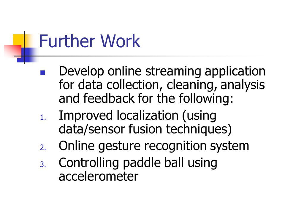 Further Work Develop online streaming application for data collection, cleaning, analysis and feedback for the following: 1.