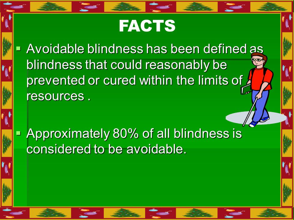  Avoidable blindness has been defined as blindness that could reasonably be prevented or cured within the limits of resources.