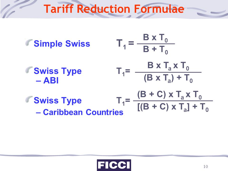 10 Tariff Reduction Formulae Simple Swiss T 1 = Swiss Type T 1 = – ABI Swiss TypeT 1 = – Caribbean Countries For Simple Swiss formula, India would end