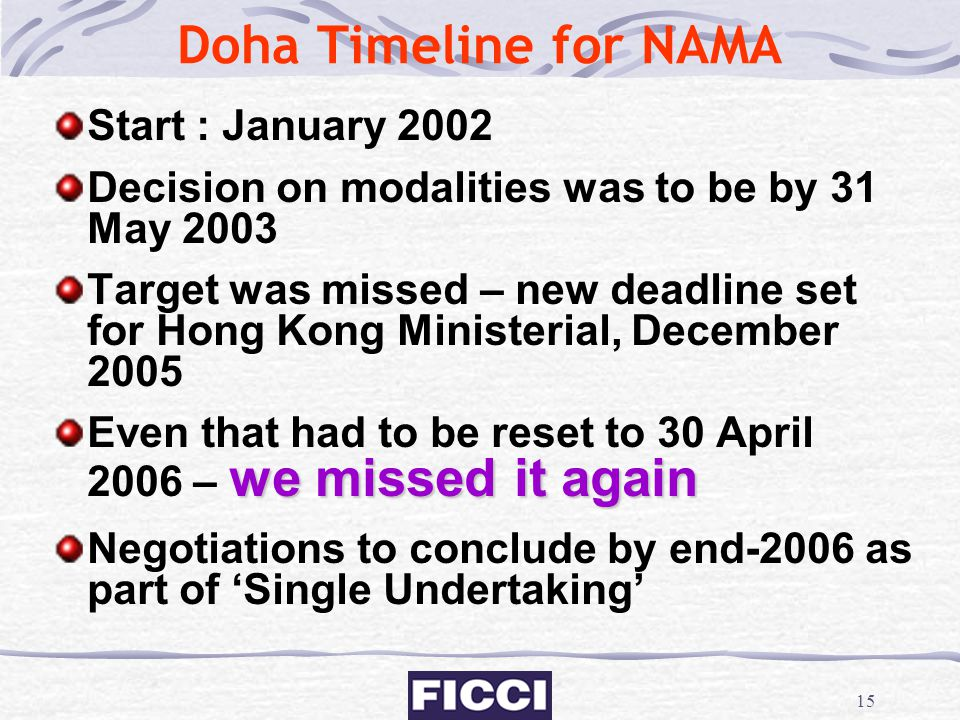15 Doha Timeline for NAMA Start : January 2002 Decision on modalities was to be by 31 May 2003 Target was missed – new deadline set for Hong Kong Mini