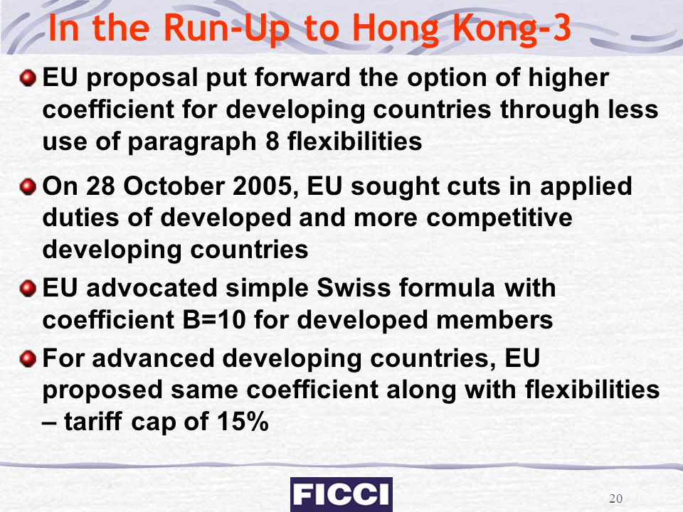 20 In the Run-Up to Hong Kong-3 EU proposal put forward the option of higher coefficient for developing countries through less use of paragraph 8 flex