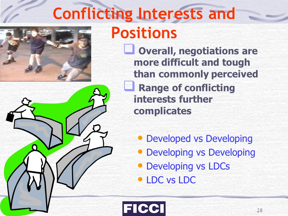 28 Conflicting Interests and Positions  Overall, negotiations are more difficult and tough than commonly perceived  Range of conflicting interests f