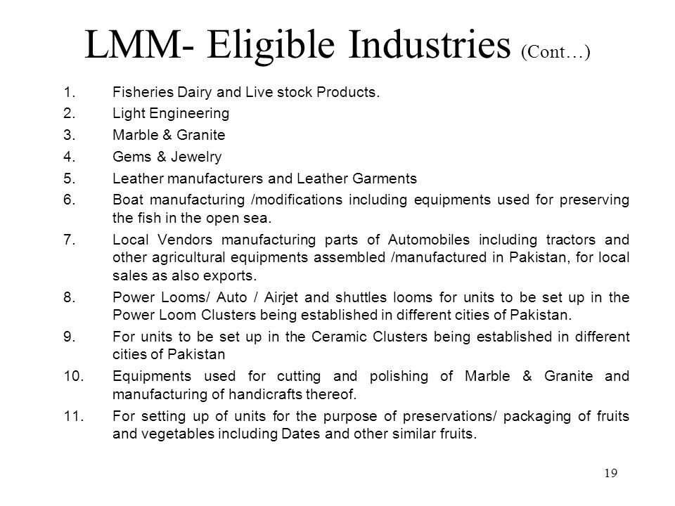 19 LMM- Eligible Industries (Cont…) 1. Fisheries Dairy and Live stock Products.