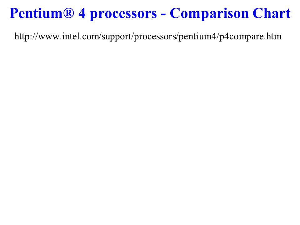 Pentium® 4 processors - Comparison Chart http://www.intel.com/support/processors/pentium4/p4compare.htm