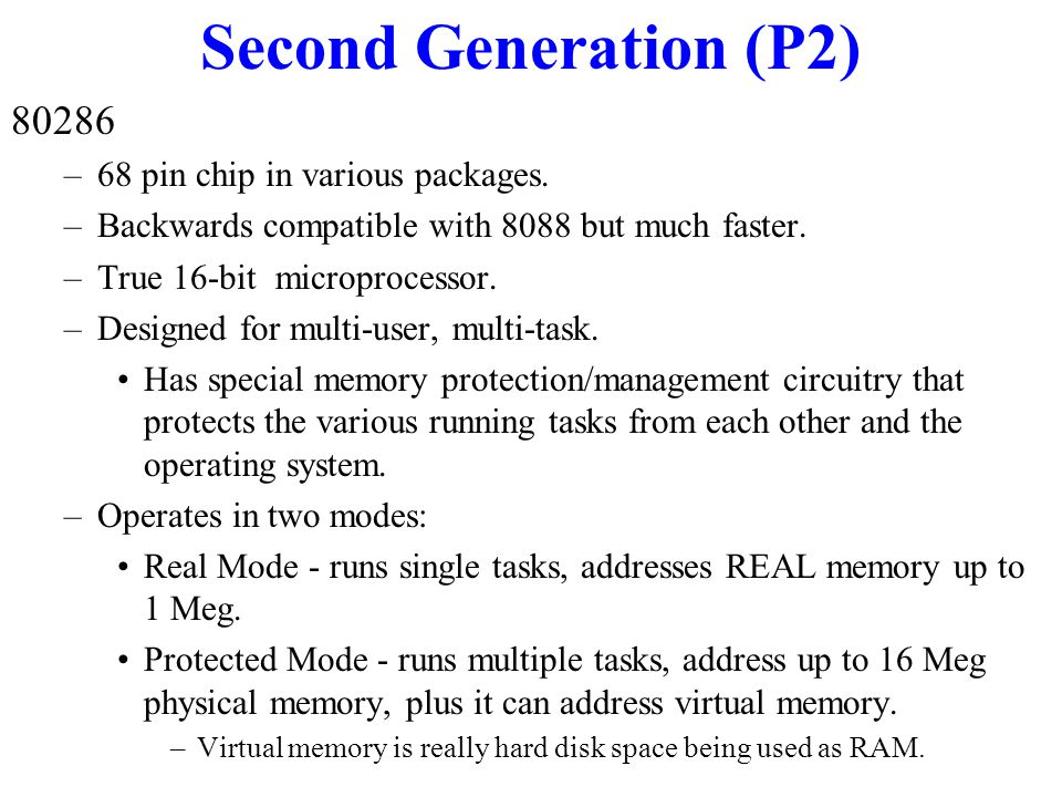 Second Generation (P2) 80286 Was available in different clock speeds. Companion Coprocessor - 80287