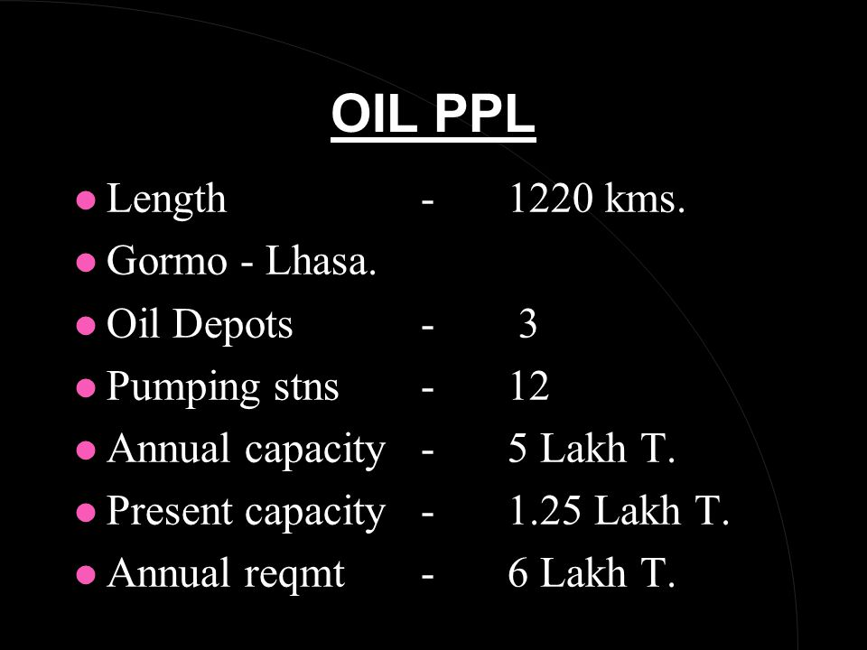 OIL PPL l Length -1220 kms. l Gormo - Lhasa.