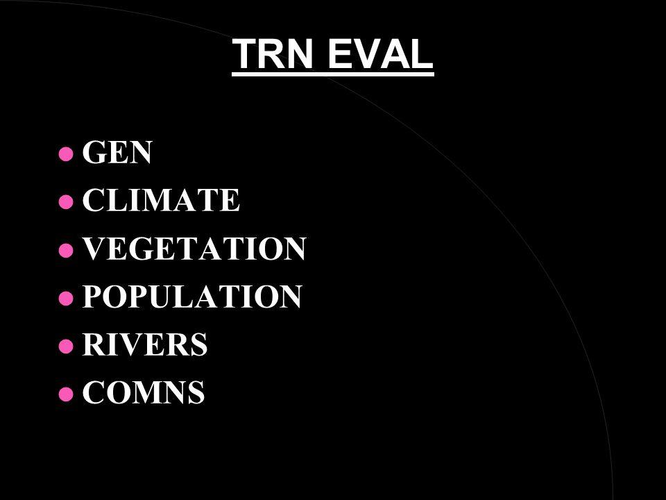 TRN EVAL l GEN l CLIMATE l VEGETATION l POPULATION l RIVERS l COMNS