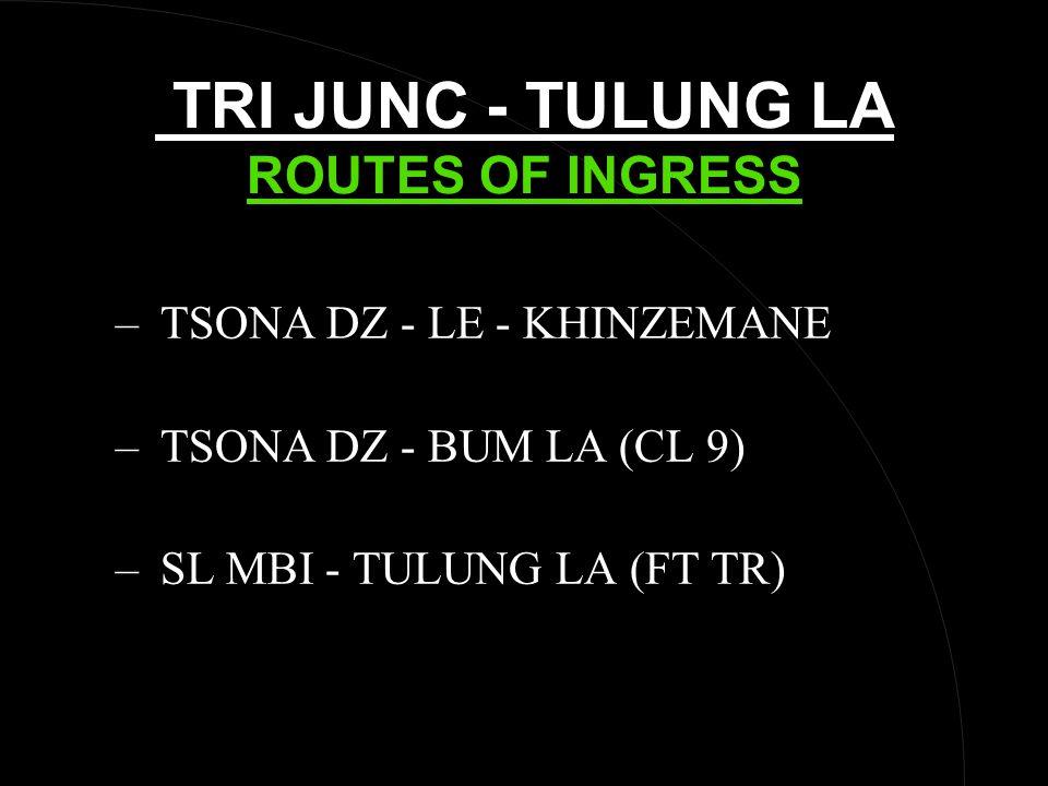 TRI JUNC - TULUNG LA ROUTES OF INGRESS – TSONA DZ - LE - KHINZEMANE – TSONA DZ - BUM LA (CL 9) – SL MBI - TULUNG LA (FT TR)