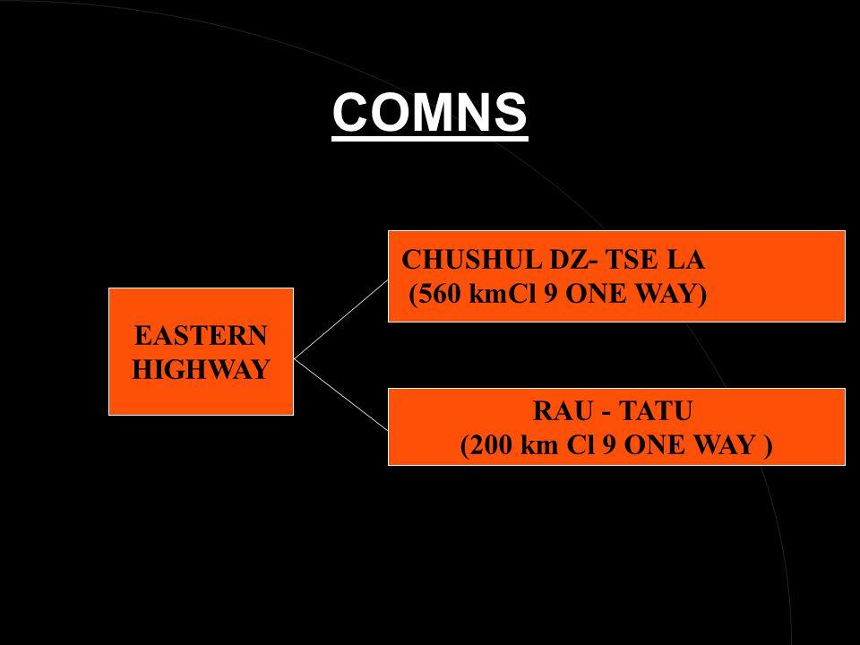 COMNS RAU - TATU (200 km Cl 9 ONE WAY ) CHUSHUL DZ- TSE LA (560 kmCl 9 ONE WAY) EASTERN HIGHWAY