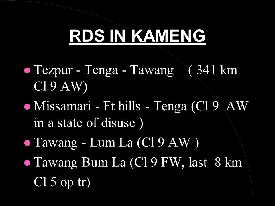 RDS IN KAMENG l Tezpur - Tenga - Tawang ( 341 km Cl 9 AW) l Missamari - Ft hills - Tenga (Cl 9 AW in a state of disuse ) l Tawang - Lum La (Cl 9 AW ) l Tawang Bum La (Cl 9 FW, last 8 km Cl 5 op tr)
