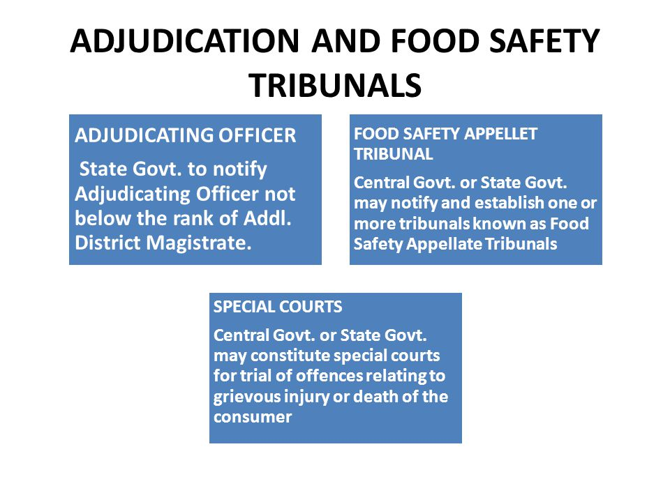 ADJUDICATION AND FOOD SAFETY TRIBUNALS ADJUDICATING OFFICER State Govt.