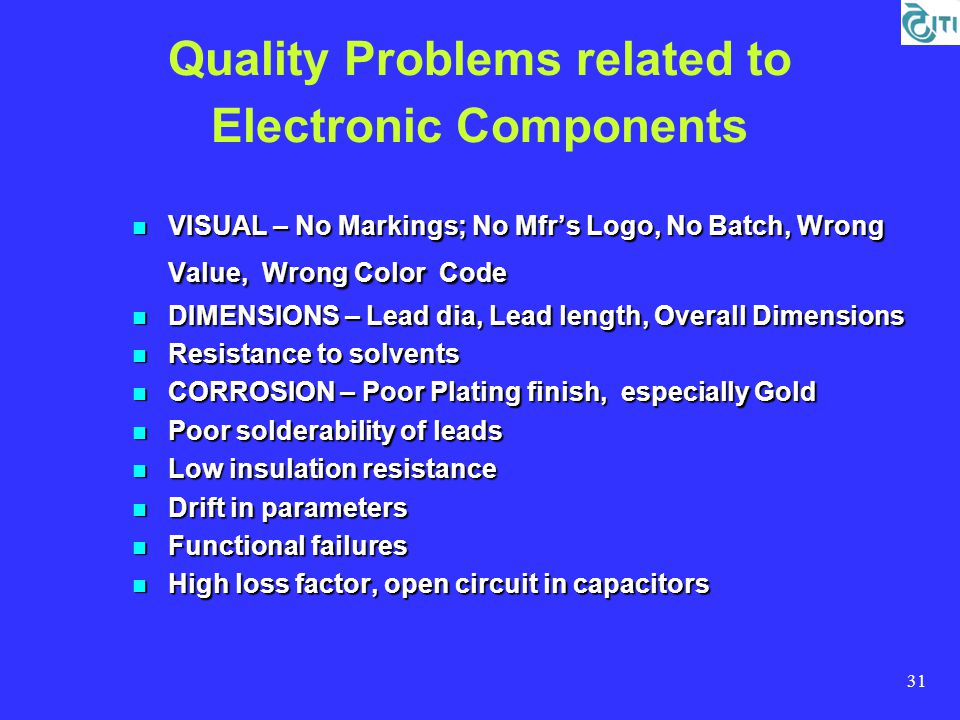 31 Quality Problems related to Electronic Components VISUAL – No Markings; No Mfr's Logo, No Batch, Wrong Value, Wrong Color Code VISUAL – No Markings; No Mfr's Logo, No Batch, Wrong Value, Wrong Color Code DIMENSIONS – Lead dia, Lead length, Overall Dimensions DIMENSIONS – Lead dia, Lead length, Overall Dimensions Resistance to solvents Resistance to solvents CORROSION – Poor Plating finish, especially Gold CORROSION – Poor Plating finish, especially Gold Poor solderability of leads Poor solderability of leads Low insulation resistance Low insulation resistance Drift in parameters Drift in parameters Functional failures Functional failures High loss factor, open circuit in capacitors High loss factor, open circuit in capacitors
