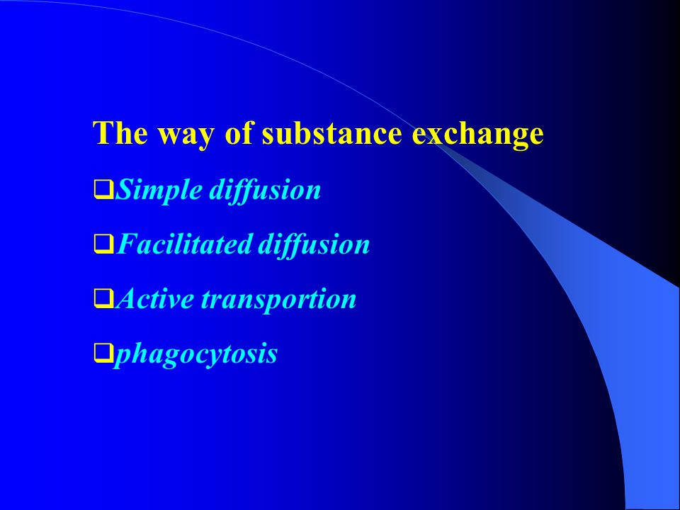 The way of substance exchange  Simple diffusion  Facilitated diffusion  Active transportion  phagocytosis