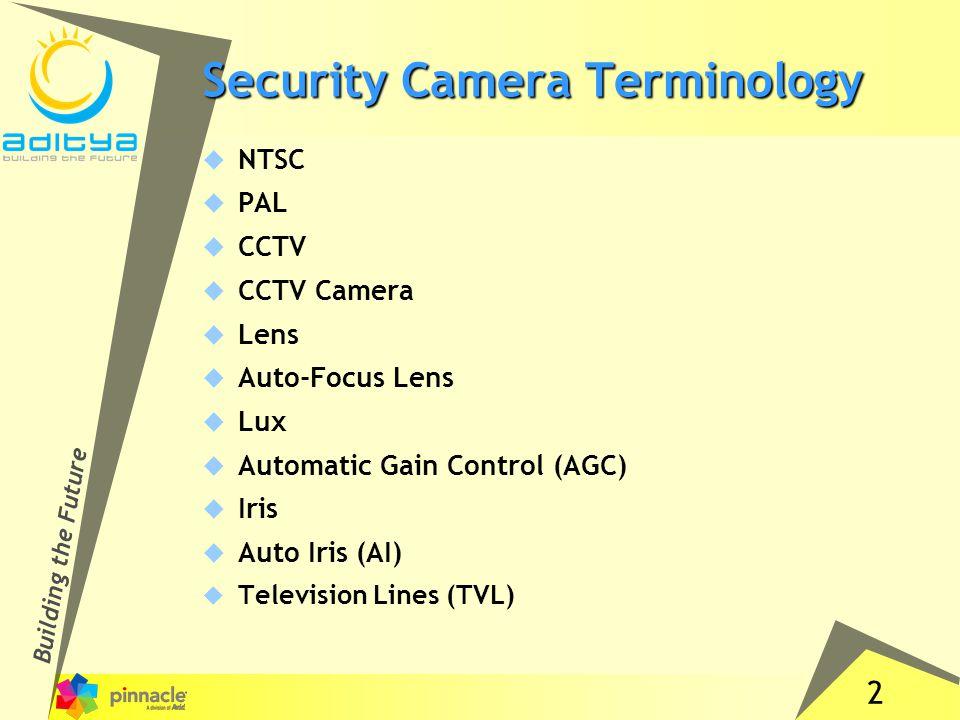 2 Security Camera Terminology  NTSC  PAL  CCTV  CCTV Camera  Lens  Auto-Focus Lens  Lux  Automatic Gain Control (AGC)  Iris  Auto Iris (AI)  Television Lines (TVL)