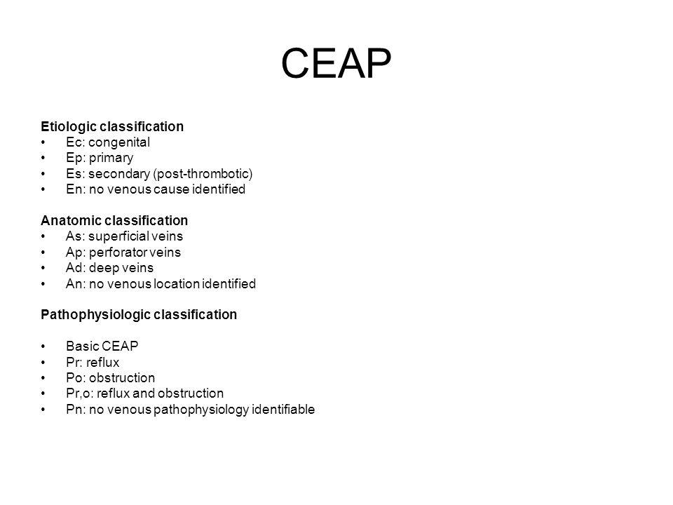CEAP Etiologic classification Ec: congenital Ep: primary Es: secondary (post-thrombotic) En: no venous cause identified Anatomic classification As: su