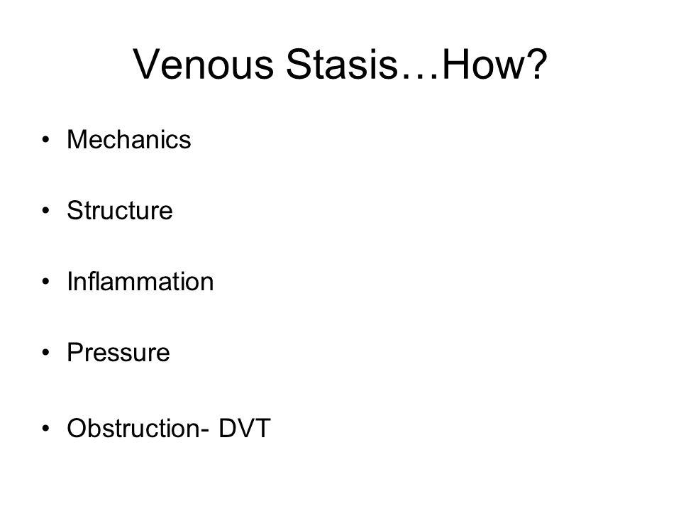 Venous Stasis…How? Mechanics Structure Inflammation Pressure Obstruction- DVT