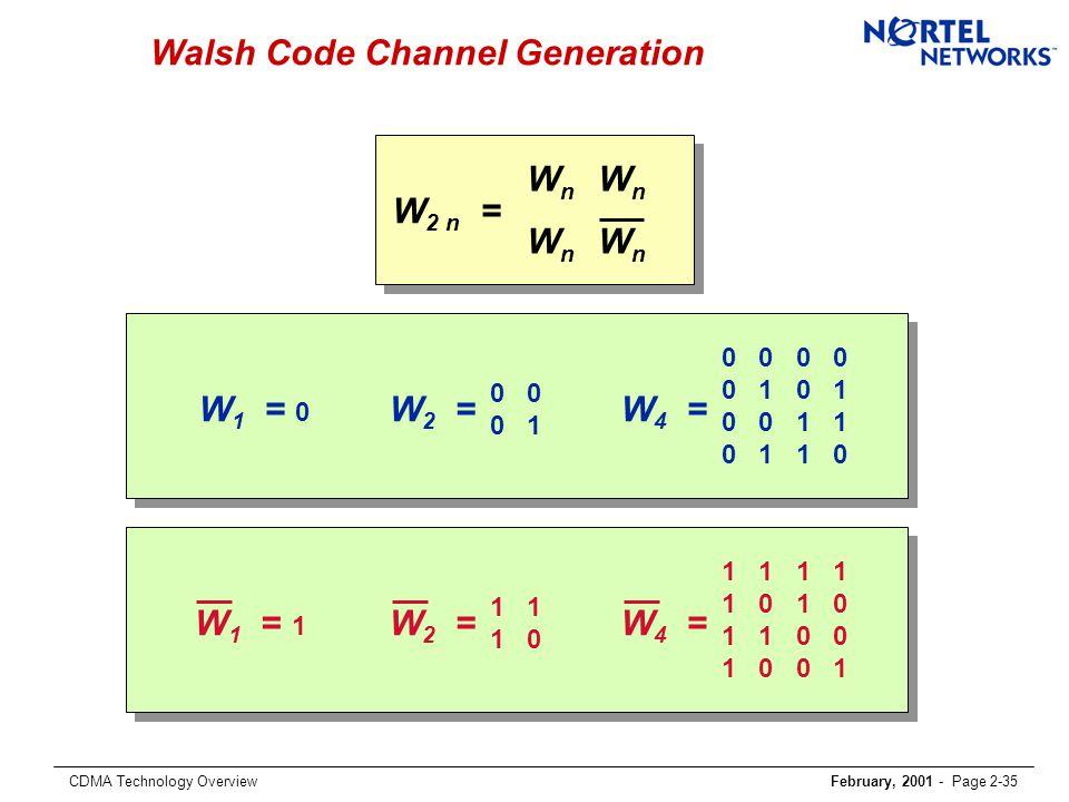 CDMA Technology OverviewFebruary, 2001 - Page 2-35 Walsh Code Channel Generation W 1 = 0 0 0 1 W 2 = 0 0 0 1 0 0 1 1 0 1 1 0 W 4 = W 2 n = WnWn WnWn W