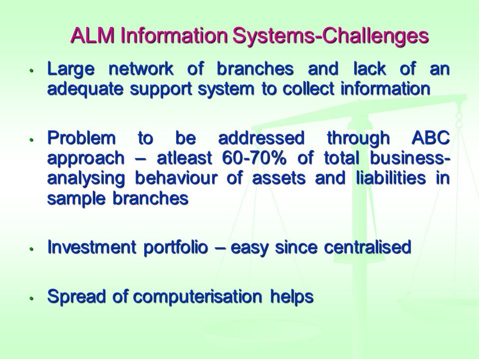 ALM Information Systems-Challenges Large network of branches and lack of an adequate support system to collect information Large network of branches and lack of an adequate support system to collect information Problem to be addressed through ABC approach – atleast 60-70% of total business- analysing behaviour of assets and liabilities in sample branches Problem to be addressed through ABC approach – atleast 60-70% of total business- analysing behaviour of assets and liabilities in sample branches Investment portfolio – easy since centralised Investment portfolio – easy since centralised Spread of computerisation helps Spread of computerisation helps