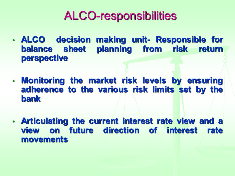 ALCO-responsibilities ALCO decision making unit- Responsible for balance sheet planning from risk return perspective ALCO decision making unit- Responsible for balance sheet planning from risk return perspective Monitoring the market risk levels by ensuring adherence to the various risk limits set by the bank Monitoring the market risk levels by ensuring adherence to the various risk limits set by the bank Articulating the current interest rate view and a view on future direction of interest rate movements Articulating the current interest rate view and a view on future direction of interest rate movements