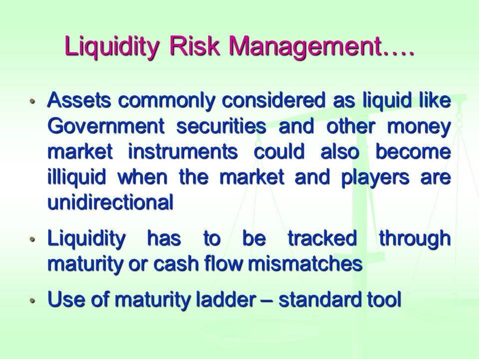 Liquidity Risk Management….