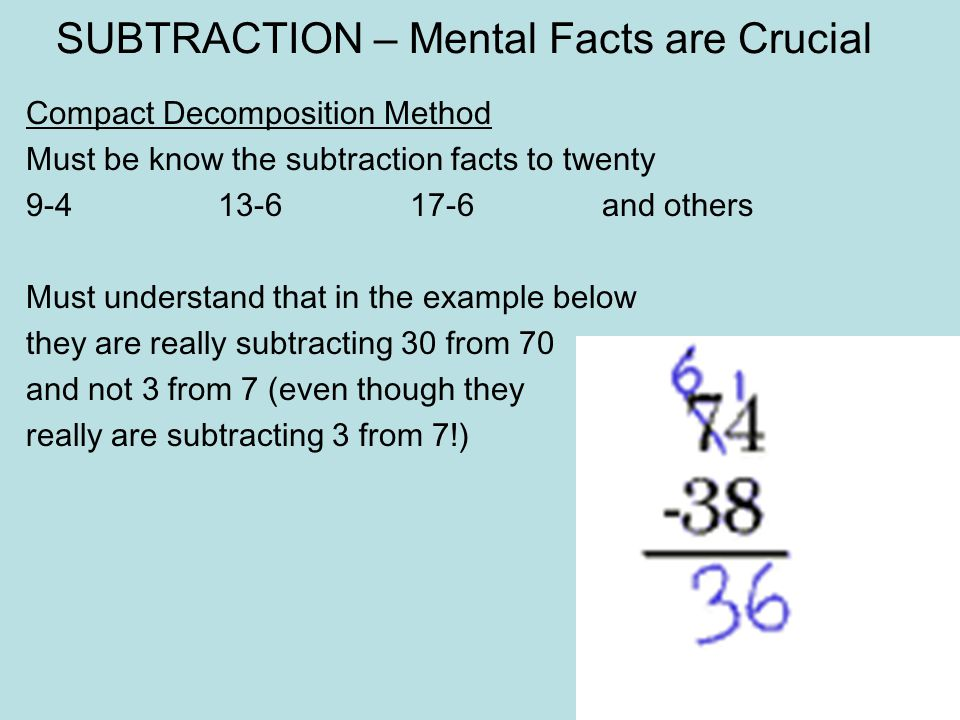 Try these 765 – 543 402 – 284 3092 - 1534 14.16 – 12.95Use the compact decomposition method. 62.2 – 35.95