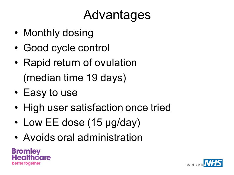 working with Advantages Monthly dosing Good cycle control Rapid return of ovulation (median time 19 days) Easy to use High user satisfaction once trie