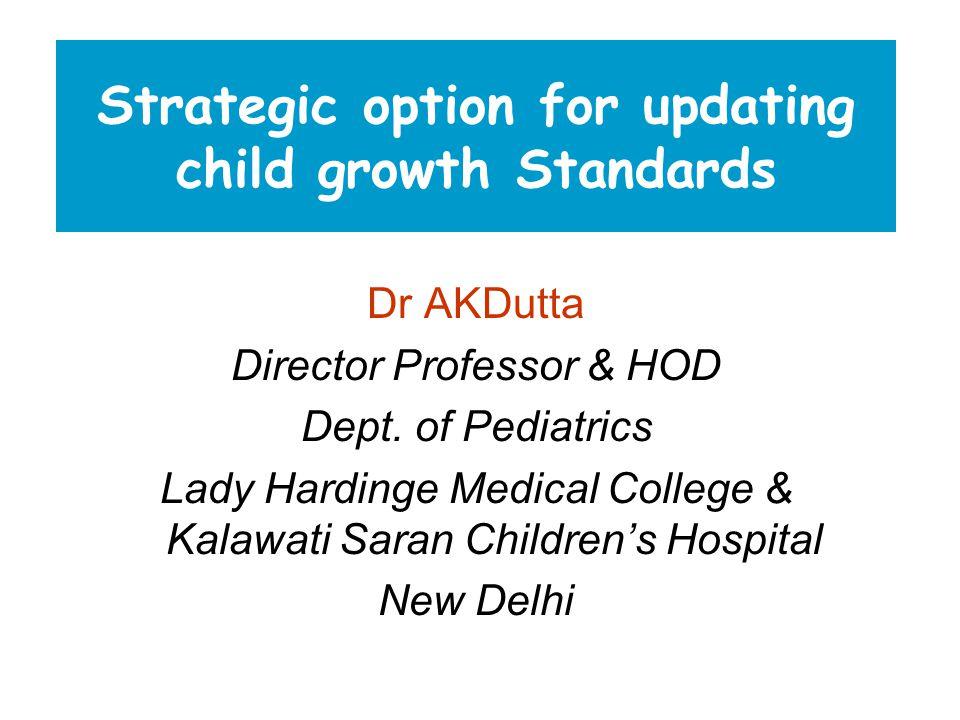 Strategic option for updating child growth Standards Dr AKDutta Director Professor & HOD Dept.