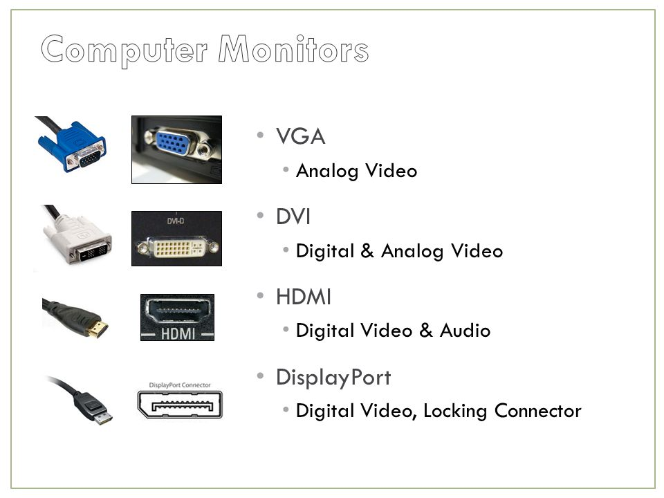 VGA Analog Video DVI Digital & Analog Video HDMI Digital Video & Audio DisplayPort Digital Video, Locking Connector