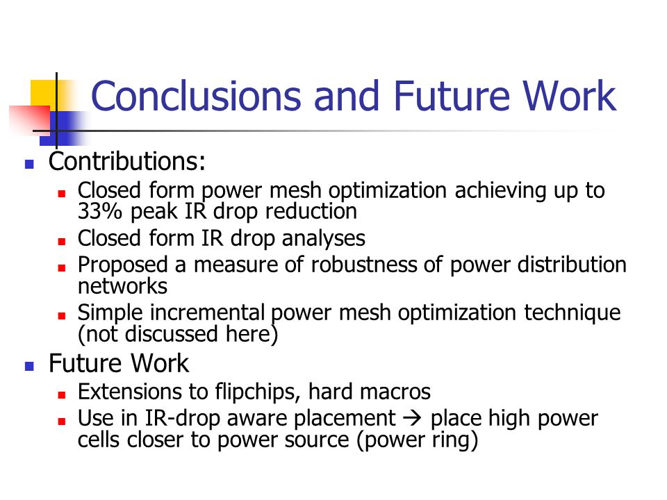Conclusions and Future Work Contributions: Closed form power mesh optimization achieving up to 33% peak IR drop reduction Closed form IR drop analyses