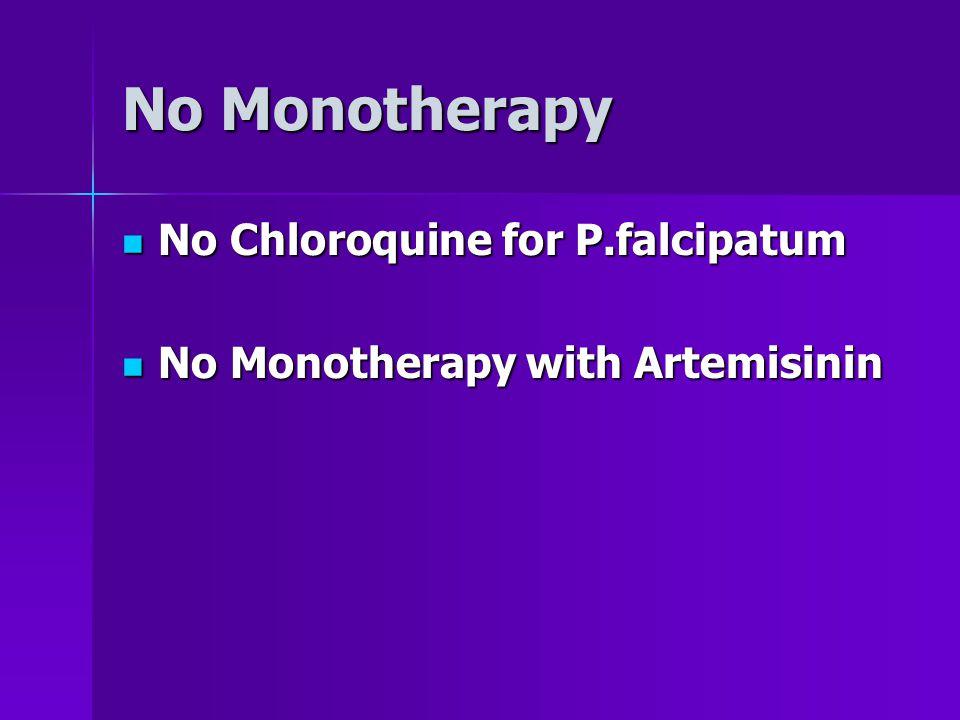 No Monotherapy No Chloroquine for P.falcipatum No Chloroquine for P.falcipatum No Monotherapy with Artemisinin No Monotherapy with Artemisinin