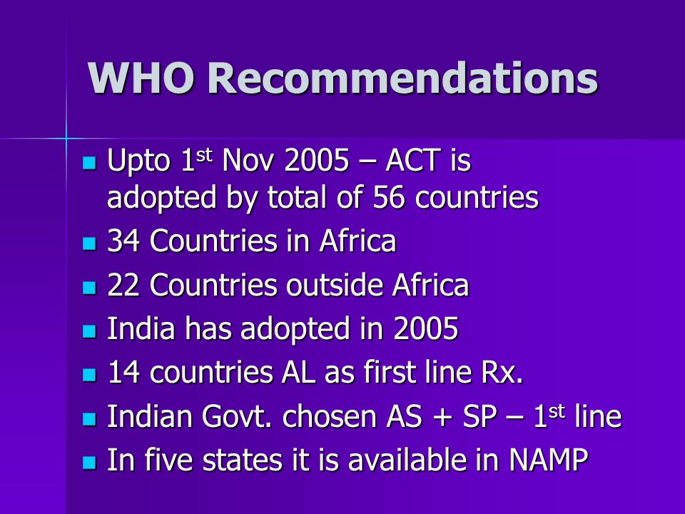 WHO Recommendations Upto 1 st Nov 2005 – ACT is adopted by total of 56 countries Upto 1 st Nov 2005 – ACT is adopted by total of 56 countries 34 Countries in Africa 34 Countries in Africa 22 Countries outside Africa 22 Countries outside Africa India has adopted in 2005 India has adopted in 2005 14 countries AL as first line Rx.