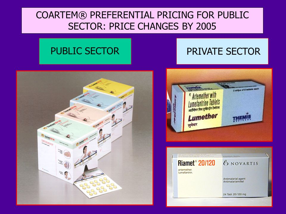 PUBLIC SECTOR PRIVATE SECTOR COARTEM® PREFERENTIAL PRICING FOR PUBLIC SECTOR: PRICE CHANGES BY 2005