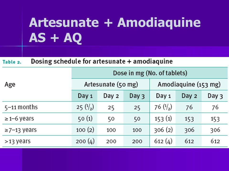 Artesunate + Amodiaquine AS + AQ