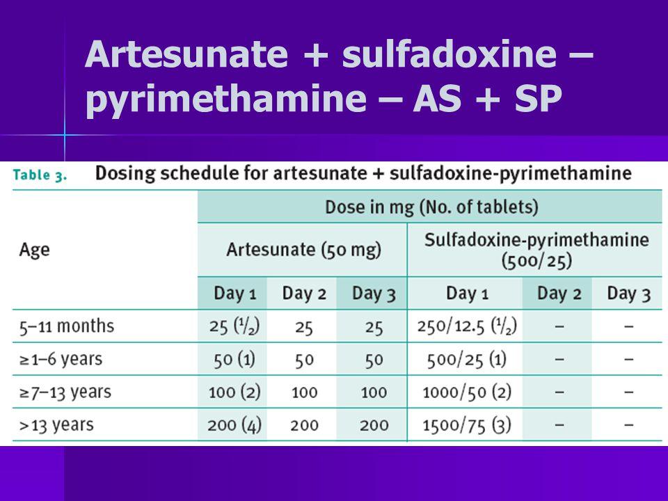 Artesunate + sulfadoxine – pyrimethamine – AS + SP