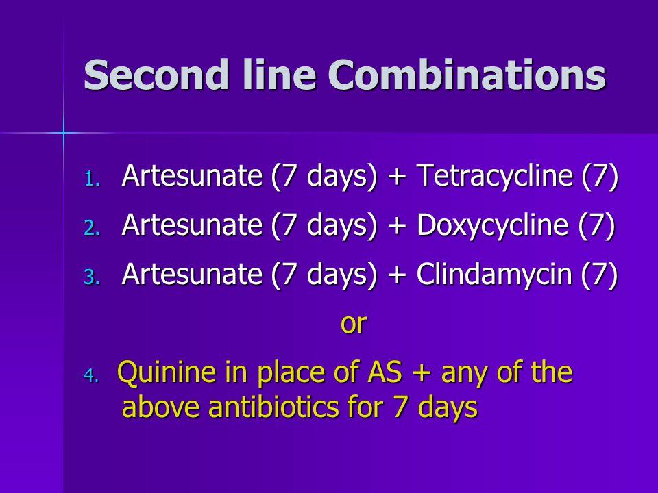 Second line Combinations 1. Artesunate (7 days) + Tetracycline (7) 2.