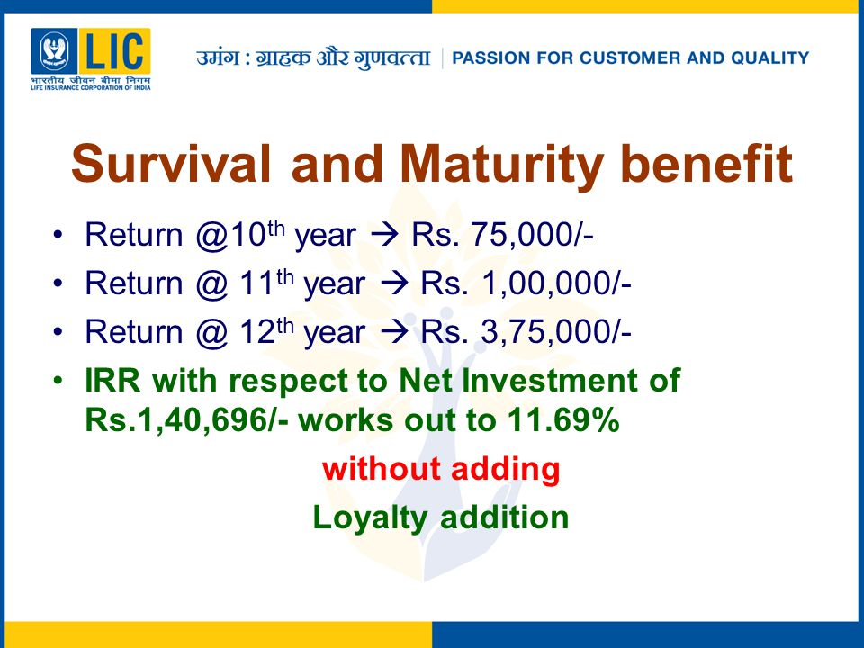 Survival and Maturity benefit Return @10 th year  Rs.