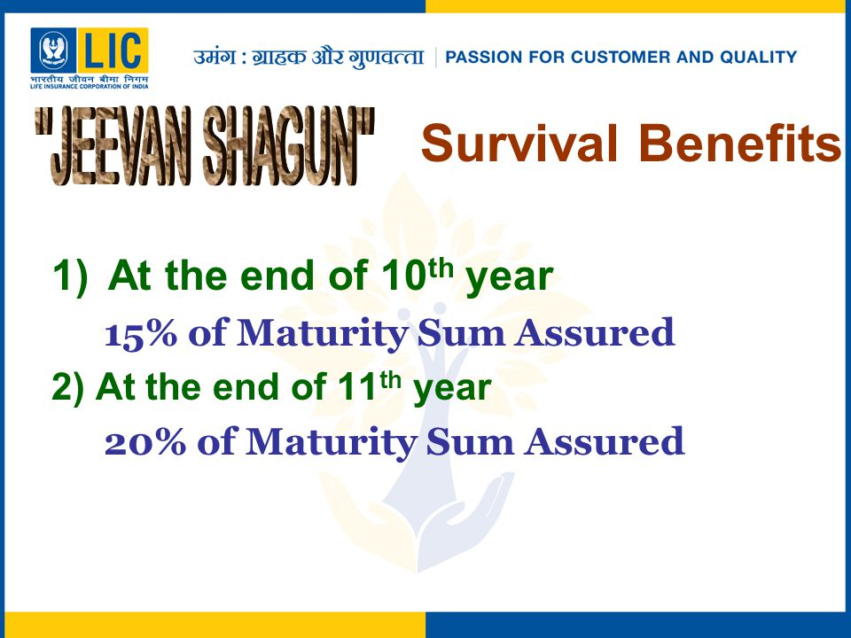 1)At the end of 10 th year 15% of Maturity Sum Assured 2) At the end of 11 th year 20% of Maturity Sum Assured Survival Benefits